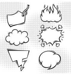 set comic speech bubbles in cartoon style vector image