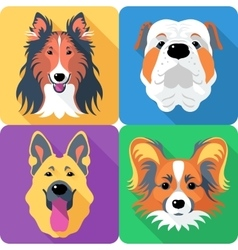 Set dog head icon flat design vector image