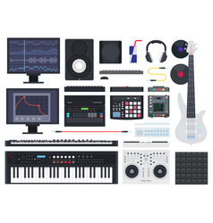 set music studio icons flat vector image