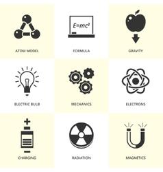 Set of black physics icons vector