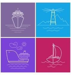 Set of Bright Color Maritime Icons vector image
