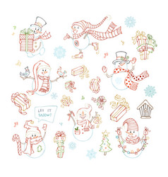 Set of cute linear snowmen vector