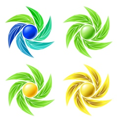 Set of leaves and spheres as logos for businesses vector image