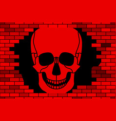 skull and broken wall vector image
