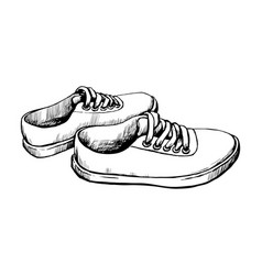 sneakers sketch vector image