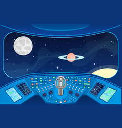 Spaceship cabin interior and view window to space vector