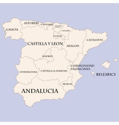 Spain map with regions names vector image