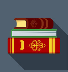 stack of old magical books in thick leather vector image