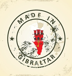 Stamp with map flag of Gibraltar vector image vector image