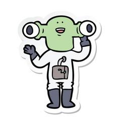 Sticker of a friendly cartoon alien waving vector