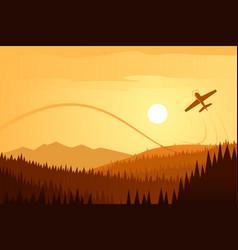 Sun landscape and airplane acrobatics vector