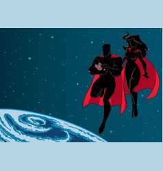 Super dad mom and baby space silhouette vector