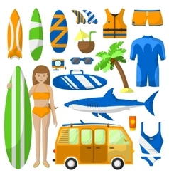Surfing sport equipment collection vector image