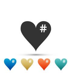 the hash love icon hashtag heart symbol icon vector image