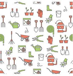 thin line art gardening seamless pattern vector image