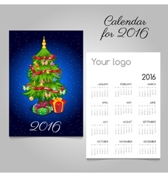 Two-sided calendar with Christmas tree and gifts vector