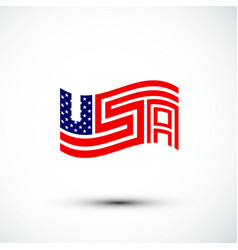 Usa logo america flag sign amp symbol flat vector