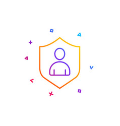 user protection line icon profile avatar sign vector image