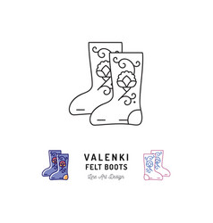 valenki icon felt boots sign traditional russian vector image