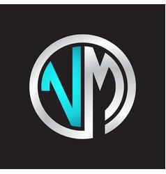 Vm initial logo linked circle monogram vector
