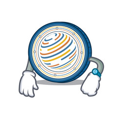 Waiting factom coin mascot cartoon vector
