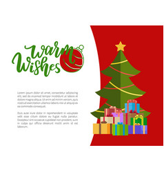 warm wishes christmas holiday greeting card tree vector image