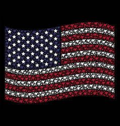 Waving usa flag stylized composition of airplane vector