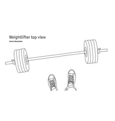 Weightlifter men feet top view black and white vector
