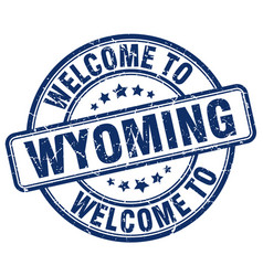 Welcome to wyoming blue round vintage stamp vector