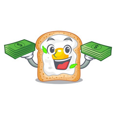 With money sandwich with egg above character board vector