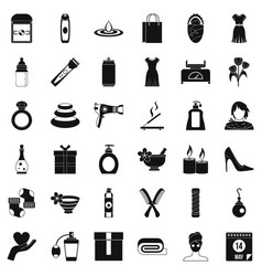 Woman shoe icons set simple style vector
