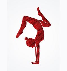 Woman yoga action sport woman pose vector