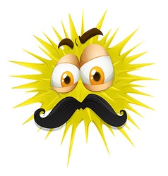 Yellow thorny ball with mustache vector