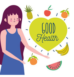Young woman and delicious fruit vegetables healthy vector