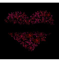 beautiful heart from red butterflies vector image