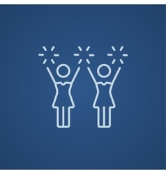 Cheerleaders line icon vector image