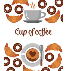 coffee croissants and donuts background vector image vector image