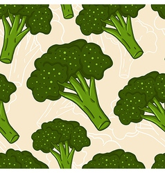 Cute seamless hand drawn broccoli background vector image vector image