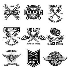 Set of auto service emblems service station auto vector