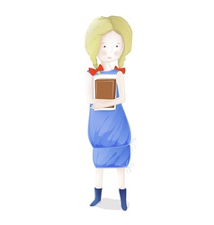 Young Blond Girl with Books Going to School vector image