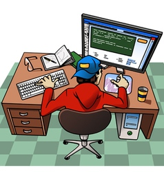 young man working at computer vector image vector image
