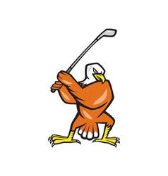 American Bald Eagle Playing Golf Cartoon vector image