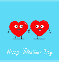happy valentines day sign symbol two red heart vector image
