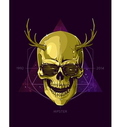 Hipster skull with horns vector image