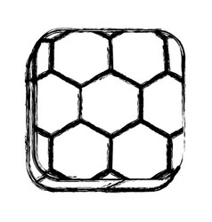 Monochrome sketch of square button with soccer vector