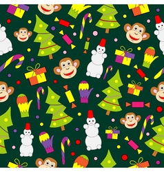 Seamless pattern with decorated trees and gifts vector image vector image