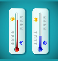 Set mercury thermometers heat and cold stock vector