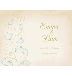 Wedding invitation card with blue lily flowers vector image vector image