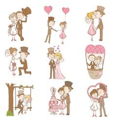 Bride and Groom - Wedding Doodle Set vector image vector image