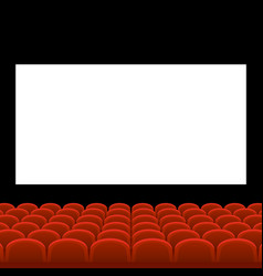 Cinema movie theatre with red seats and white vector